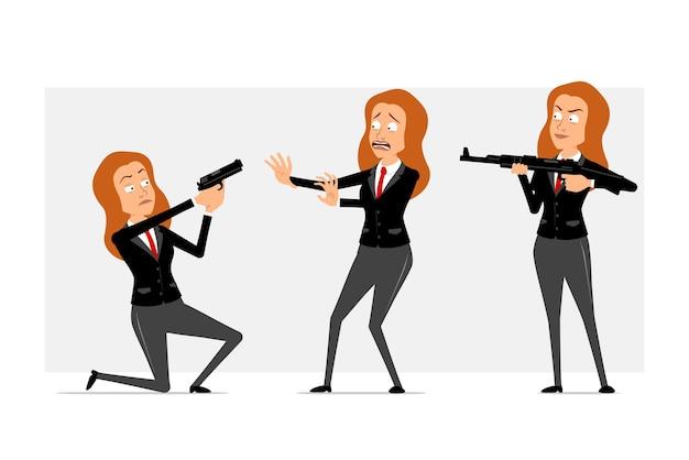 Postać z kreskówki płaskie śmieszne rude biznes kobieta w czarnym garniturze z czerwonym krawatem. dziewczyna przestraszona, trzymając i strzelając z karabinu i pistoletu. gotowy do animacji. na białym tle na szarym tle. zestaw.