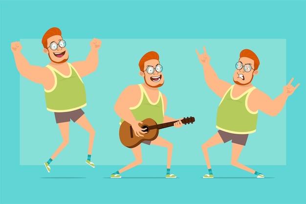 Postać z kreskówki płaskie śmieszne rude grubego chłopca w okulary, podkoszulek i szorty. chłopiec skacze, gra na gitarze i pokazuje rock i gest.