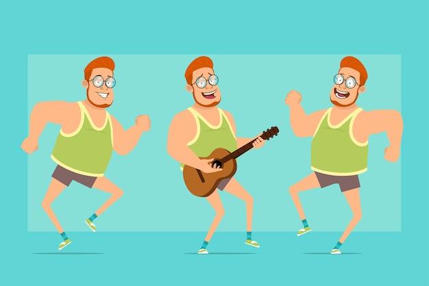 Postać z kreskówki płaskie śmieszne rude grubego chłopca w okulary, podkoszulek i szorty. chłopiec skacze, tańczy i gra na gitarze.