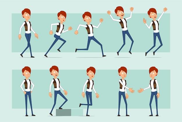 Postać z kreskówki płaskie śmieszne rude kobiety w skórzanej kurtce i dżinsach. dziewczyna, ściskając ręce, biegając i idąc do celu