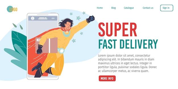 Postać z kreskówki płaskiego superbohatera przychodzi na ratunek z ekranu aplikacji mobilnej