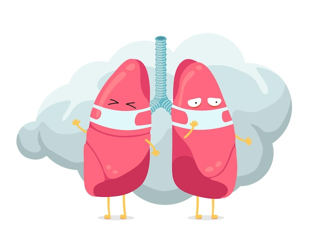 Postać z kreskówki płuc z maską higieniczną oddechu na twarzy i chmurą dymu lub kurzu