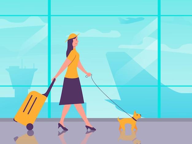 Postać z kreskówki podróżnik. dziewczyna z psem i bagażem w terminalu lotniska. podróż powietrzem młoda kobieta z walizką. kobieta jedzie na wakacje. samolot pasażerski.