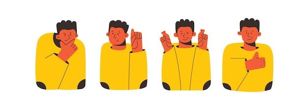 Postać z kreskówki pokazująca różne gesty rąk kciuki w górę, skrzyżowane palce jak zamyślone