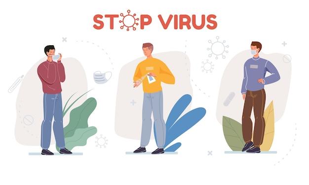 Postać z kreskówki pokazuje środki ochronne przed koncepcją zapobiegania koronawirusowi i higieny osobistej
