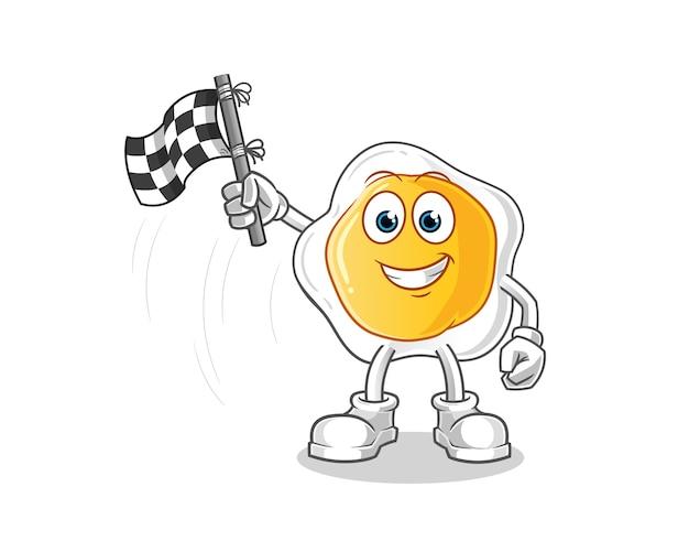 Postać z kreskówki posiadacza flagi z wykończeniem jajka sadzonego