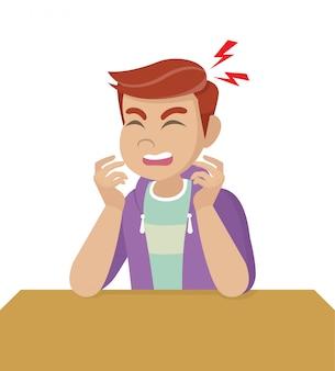 Postać z kreskówki pozuje, człowiek z bólem głowy, chorobą głowy, trzyma głowę. migreny, problemy zdrowotne, ból głowy, praca ze stresem, zmęczony, cierpi, emocje, ból głowy, sfrustrowany.
