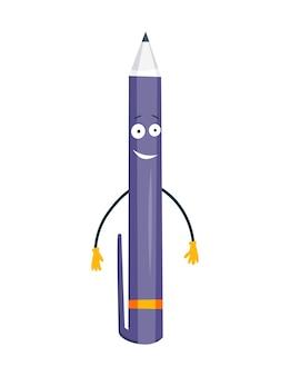 Postać z kreskówki przedmiotu zaopatrzenia szkolnego z radosną buźką. powrót do szkoły zabawny uśmiech.