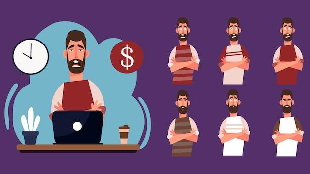 Postać z kreskówki przystojny młody mężczyzna pracujący grafik w miejscu pracy. wyraz twarzy freelance koncepcja pracy z czasem