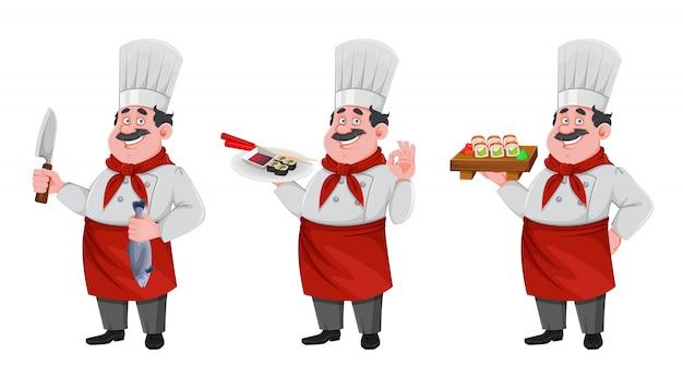 Postać z kreskówki przystojny szef kuchni. wesoły kucharz