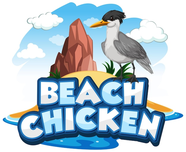 Postać z kreskówki ptak mewa z banerem czcionki beach chicken na białym tle