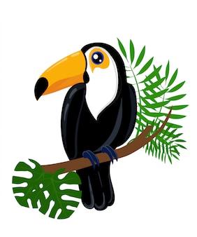 Postać z kreskówki ptak tukan. ładny tukan na białym tle. fauna ameryki południowej. ikona świnki morskiej. ilustracja dzikich zwierząt na reklamę zoo, koncepcja przyrody, ilustrująca książka dla dzieci.