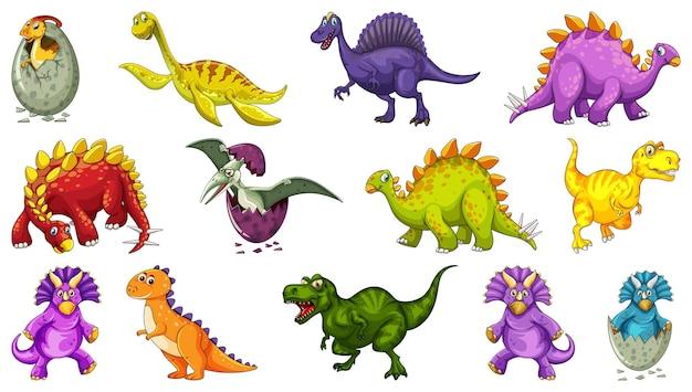 Postać z kreskówki różnych dinozaurów i smoki fantasy na białym tle