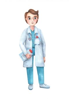 Postać z kreskówki samiec lekarka w medycznej odzieży z stetoskopem.