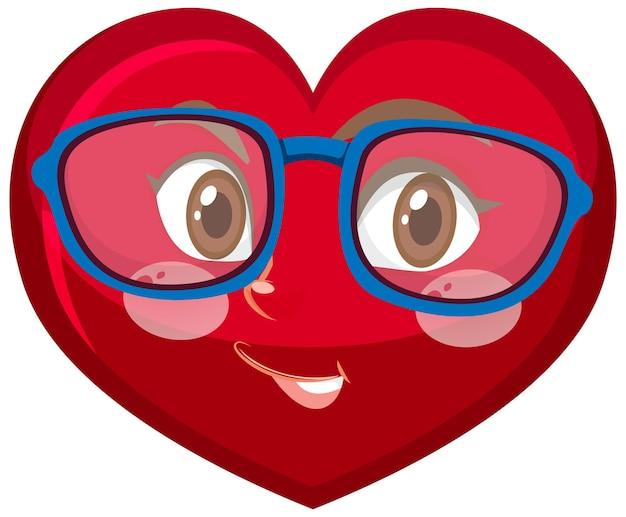 Postać z kreskówki serca z wyrazem twarzy