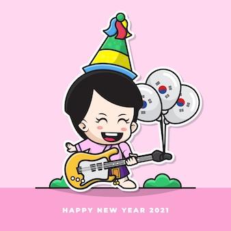 Postać z kreskówki ślicznego koreańskiego niemowlęcia grającego na gitarze i niosącego balon z flagą narodową