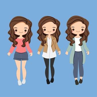 Postać z kreskówki słodkie dziewczyny mody