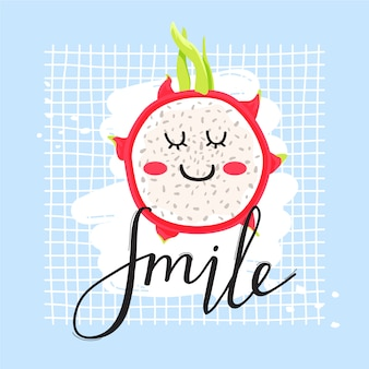 Postać z kreskówki słodkie owoce smoka w stylu kawaii.