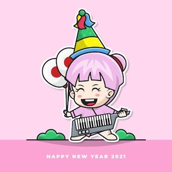 Postać z kreskówki słodkiego japońskiego niemowlęcia dmucha w noworoczną trąbkę i niesie balon z flagą narodową