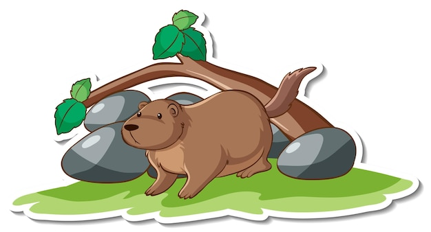 Postać z kreskówki słodkiej naklejki wydry