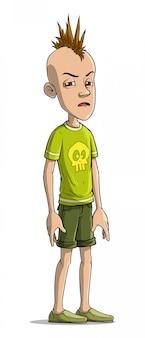 Postać z kreskówki śmieszne punk chłopiec