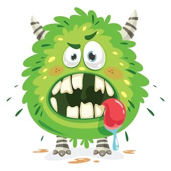 Postać z kreskówki śmiesznego małego potwora