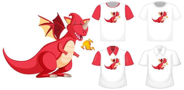 Postać z kreskówki smoka na innej białej koszuli z czerwonymi krótkimi rękawami