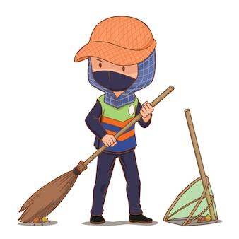 Postać z kreskówki sprzątaczki ulicznej zamiatanie podłogi.