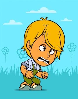 Postać z kreskówki szalony rolnik chłopiec