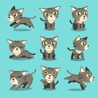 Postać z kreskówki szary kot pręgowany pozy