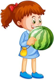 Postać z kreskówki szczęśliwa dziewczyna trzyma arbuza
