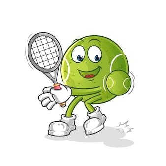 Postać z kreskówki szczęśliwa piłka tenisowa