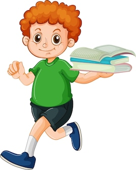 Postać z kreskówki szczęśliwy chłopiec trzyma wiele książek