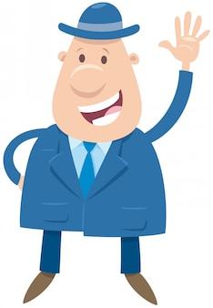 Postać z kreskówki szczęśliwy człowiek lub biznesmen
