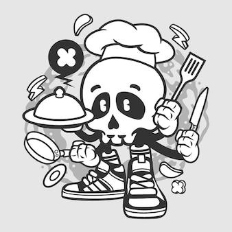 Postać z kreskówki szefa kuchni czaszki