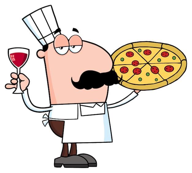 Postać z kreskówki szefa kuchni pizza trzyma szkło z winem. wektorowa ilustracja odizolowywająca