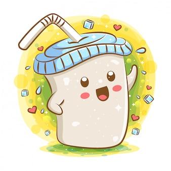 Postać z kreskówki tapioca milk tea kawaii