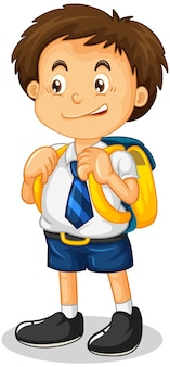 Postać z kreskówki uczeń chłopiec na białym tle