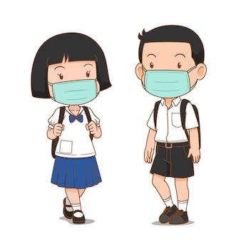 Postać z kreskówki ucznia gimnazjum chłopiec i dziewczynka sobie maskę higieniczną.