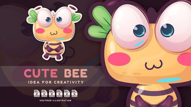 Postać z kreskówki urocza zwierzęca pszczoła