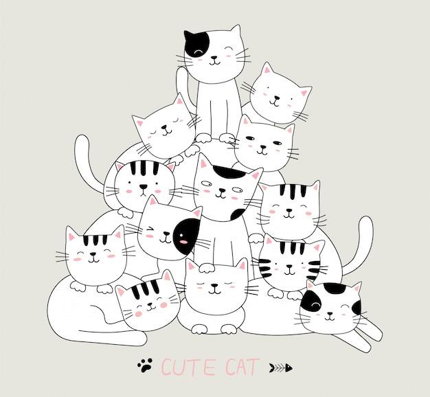 Postać z kreskówki uroczych kotów zwierząt. ręcznie rysowane styl.
