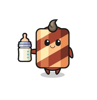 Postać z kreskówki wafla dla niemowląt z butelką mleka, ładny styl na koszulkę, naklejkę, element logo