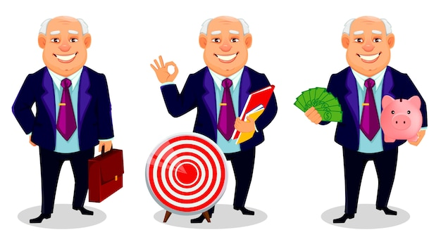 Postać z kreskówki wesoły gruby biznesmen