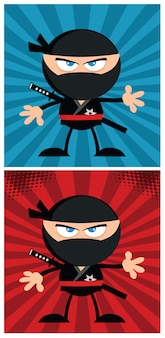 Postać z kreskówki wojownika ninja w nowoczesny projekt płaski