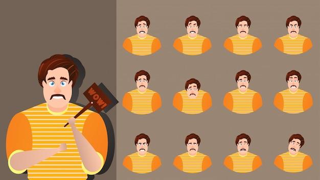 Postać z kreskówki wyrażenie ustawić twarz emocji.