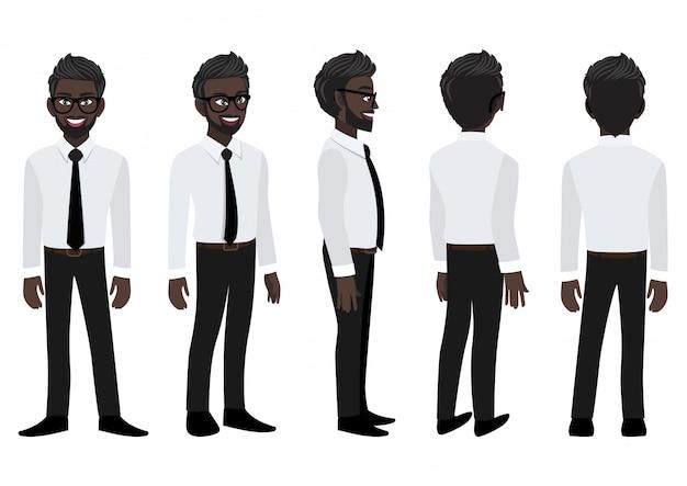 Postać z kreskówki z amerykańsko-afrykańskim biznesmenem w eleganckiej koszuli do animacji.