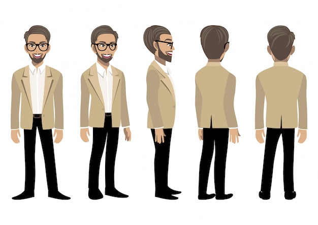 Postać z kreskówki z biznesmenem w elegancki garnitur do animacji. przód, bok, tył, widok animowany 3-4. ilustracja wektorowa płaskie