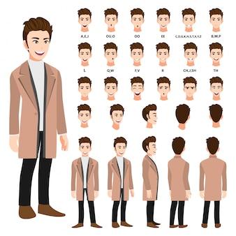 Postać z kreskówki z człowiekiem biznesu w długim płaszczu do animacji. przód, bok, tył, kilka znaków widoku. oddziel części ciała. ilustracja wektorowa płaskie
