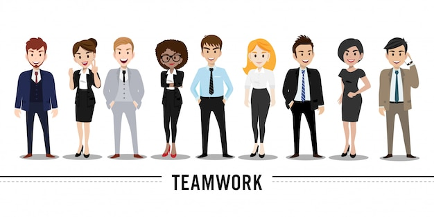 Postać z kreskówki z działalności człowieka i kobieta biznesu, ilustracja koncepcja pracy zespołowej.