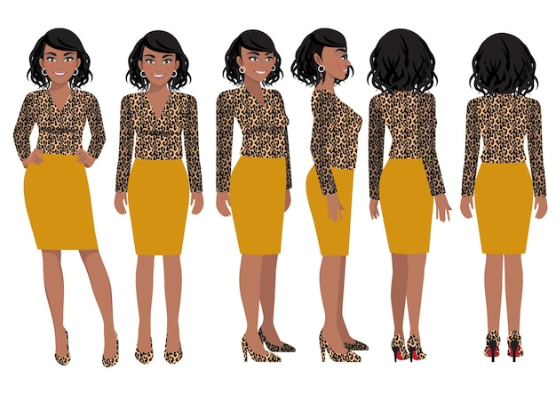 Postać z kreskówki z kobietą biznesu w koszulce z nadrukiem lamparta dla animacji